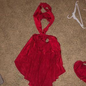 Kellé Red Two Piece Halter Neck Skirt Costume